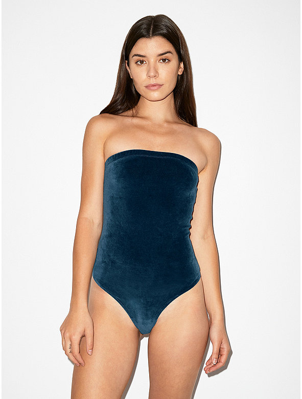 Stretch Velour Strapless Bodysuit