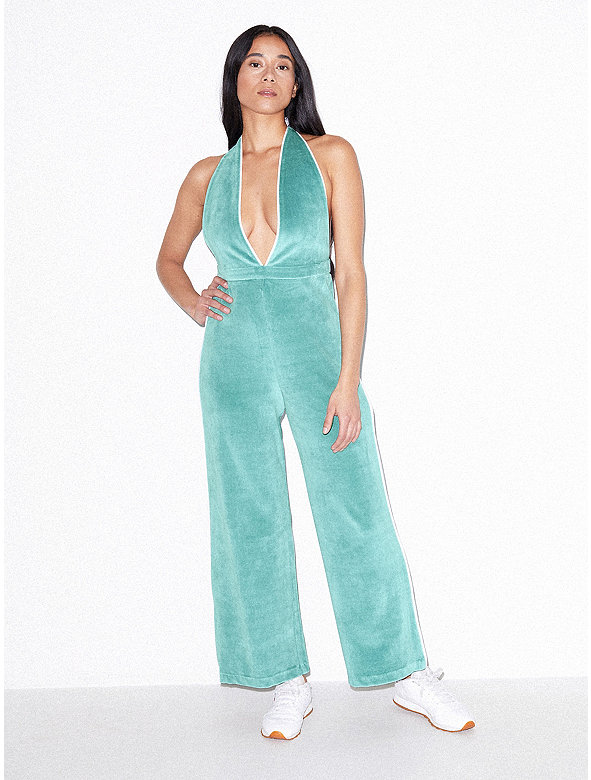 Stretch Velour Deep V Jumpsuit
