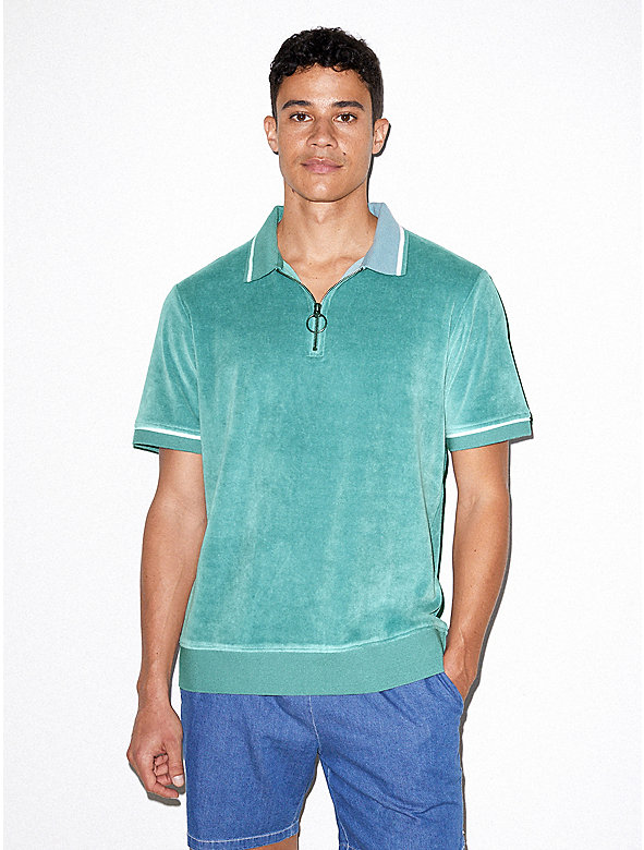 Stretch Velour Short Sleeve Zip Up Polo