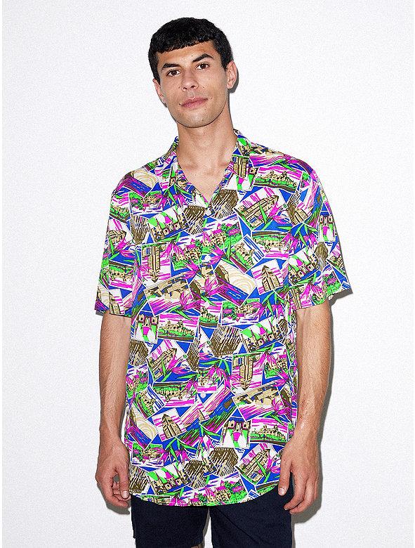 Viscose Short Sleeve Button Up Shirt