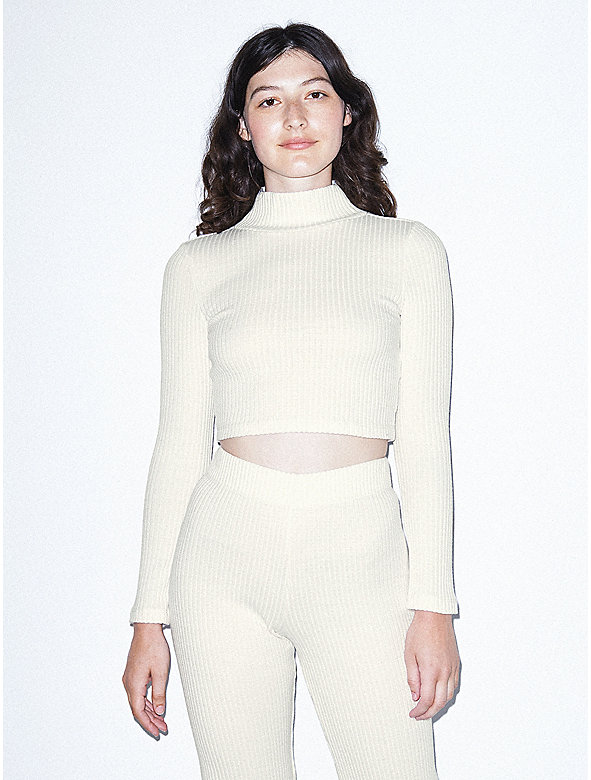 Thick Rib Long Sleeve Crop Turtleneck