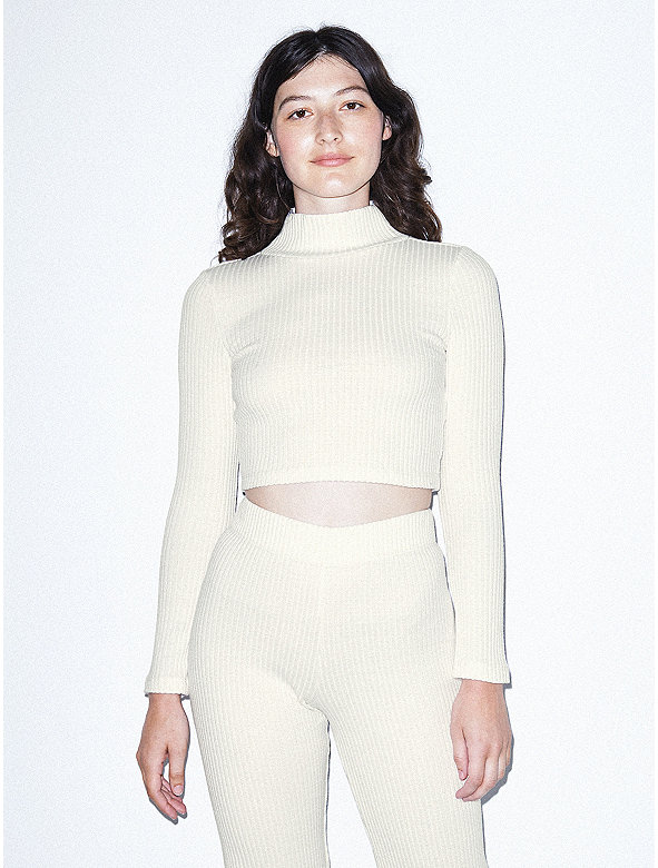 ca9776a5edb3b9 Thick Rib Long Sleeve Crop Turtleneck