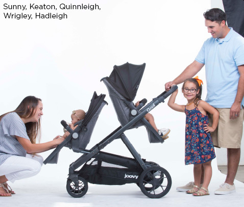 Image of models Sunny, Keaton, Quinnaleigh, Wrigley, Hadleight with double stroller