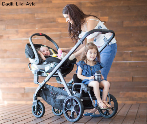 Image of models Dadli, Lila, Ayla with double stroller