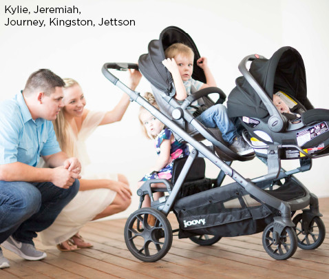 Image of models Kylie, Jeremiah, Journey, Kingston, Jettson with triple stroller