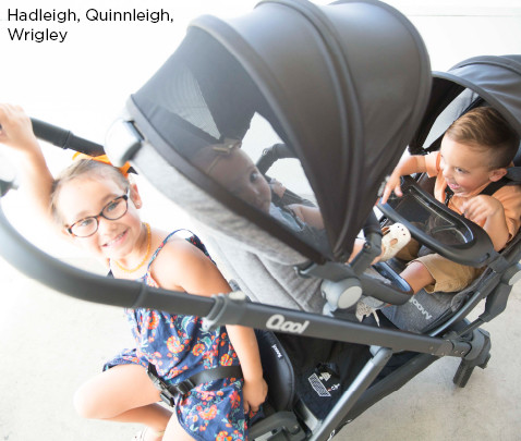 Image of models Hadleigh, Quinnleigh, Wrigley with triple stroller