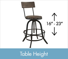 Shop Table Height Stools, between 16 and 23 inches tall.