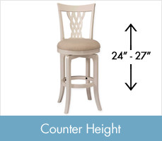 Shop Counter Height Stools, between 24 and 27 inches tall.