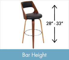 Shop Bar Height Stools, between 28 and 33 inches tall.