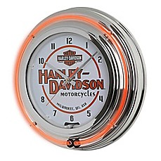 Harley-Davidson H-D® Motorcycles Double Neon Clock in Black/Orange