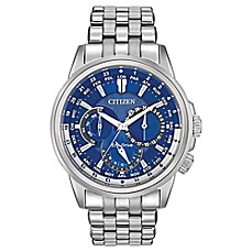 Citizen Eco-Drive Men's 44mm Calendrier Blue Dial Watch in Stainless Steel
