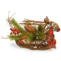 14-Inch Christmas Deer Décor Basket in Green