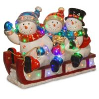 29-Inch 3 Snowmen Sledding Decoration with Color LED Lights