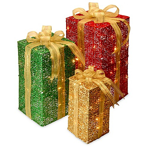 3 piece sisal gift box decoration set with clear lights for Sisal decoration