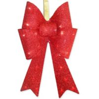 20 inch metal led tinsel bow in red - Red Christmas Bows