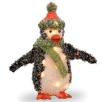 18-Inch Tinsel Penguin Decoration in Black with Clear Lights