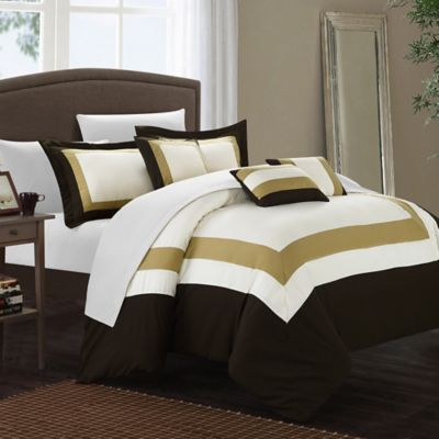 chic home dylan 10piece queen comforter set in gold