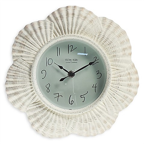 Sterling noble seashell clock in white bed bath beyond for Seashell clock