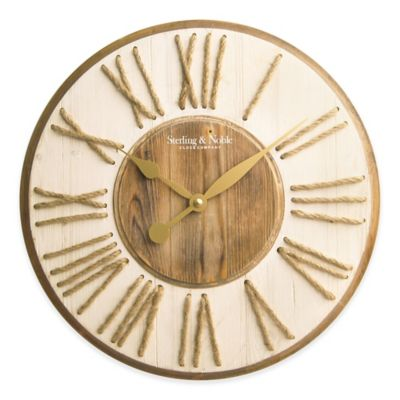 sterling u0026 noble wood and rope numbers wall clock