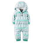 carter's® Size 3M Fair Isle Hooded Fleece Jumpsuit in Turquoise