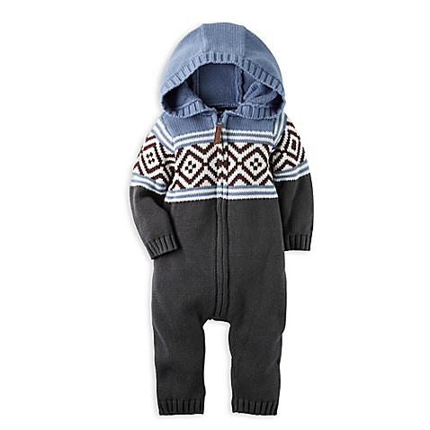 carter's® Fair Isle Hooded Sweater Romper in Blue - Bed Bath & Beyond