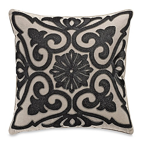 Black Beaded Throw Pillow : Beaded Damask Aari Embroidered Square Throw Pillow - www.BedBathandBeyond.com