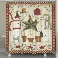Laural Home Country Snowmen Holiday Shower Curtain in Red/Green