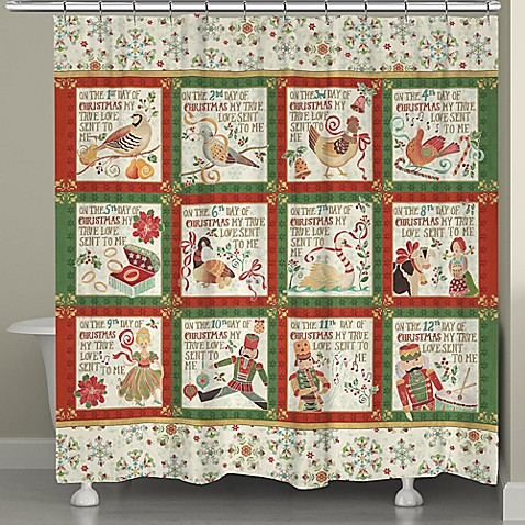 Laural Home 12 Days Holiday Shower Curtain In Red Green