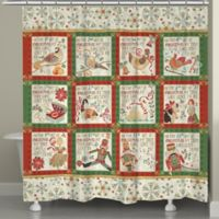 Laural Home 12 Days Holiday Shower Curtain in Red/Green