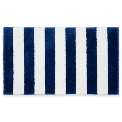Beach Stripe Bath Rug in Blue/White