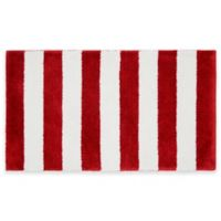 Beach Stripe Bath Rug in Red/White