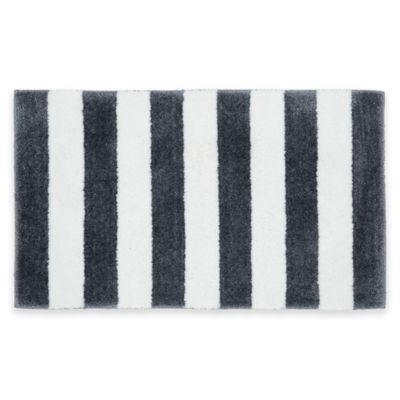 Attractive Beach Stripe Bath Rug In Greg/White