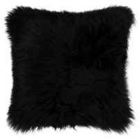 Natural 100% Sheepskin New Zealand Square Throw Pillow in Black