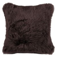 Natural 100% Sheepskin New Zealand Square Throw Pillow in Chocolate