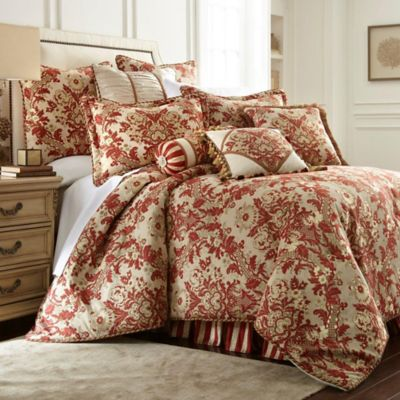 austin horn classics mount rouge king comforter set in rustic red - Silk Bedding