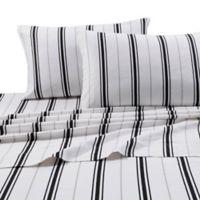 Tribeca Living 170 GSM Print Flannel Deep Pocket Full Sheet Set in Black/Grey