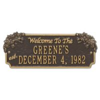 Whitehall Products Daisy Welcome House Plaque with Bronze/Gold Finish