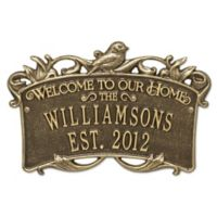 Songbird Welcome Plaque in Antique Brass