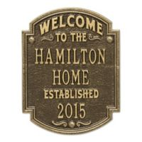Whitehall Products Heritage Welcome/Anniversary Plaque in Antique Brass