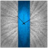 Metal Art Studio Metal Stripe Wall Clock in Blue/Silver