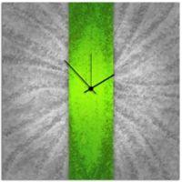 Metal Art Studio Metal Stripe Wall Clock in Green/Silver