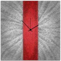 Metal Art Studio Metal Stripe Wall Clock in Red/Silver