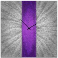 Metal Art Studio Metal Stripe Wall Clock in Violet/Silver