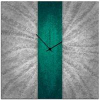 Metal Art Studio Metal Stripe Wall Clock in Teal/Silver