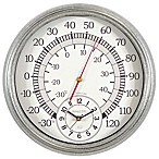 Sterling & Noble Indoor/Outdoor Galvanized Metal Thermometer Wall Clock