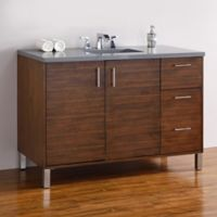 James Martin Furniture Metropolitan 48-Inch Single Vanity with Shadow Grey Stone Top in Walnut
