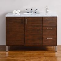 James Martin Furniture Metropolitan 48-Inch Single Vanity with Carrara White Stone Top in Walnut