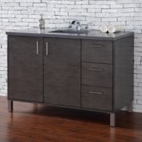 James Martin Furniture Metropolitan 48-Inch Single Vanity with Grey Quartz Stone Top in Silver Oak