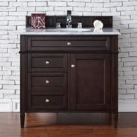 Brittany 36-Inch Vanity in Mahogany with 2 cm Marble Top in White