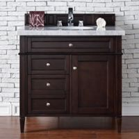 Brittany 36-Inch Vanity in Mahogany with 4 cm Marble Top in White